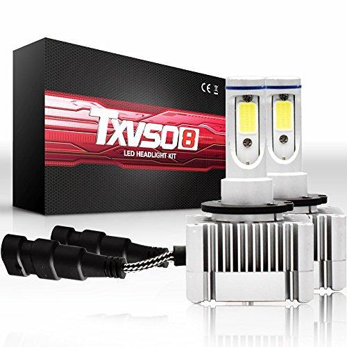 YEZIO Bombillas de Luces de Coche, Bulbos de la Linterna de D1S / D3S -Alto/Haz bajo 110W 26000LM / Set 6000K Cool White-1x Par (2pcs)