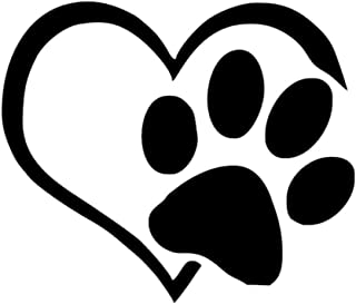 AIUSD Cleaner, Pet Paw Print with Heart Dog Cat Vinyl Decal Car Window Bumper Sticker