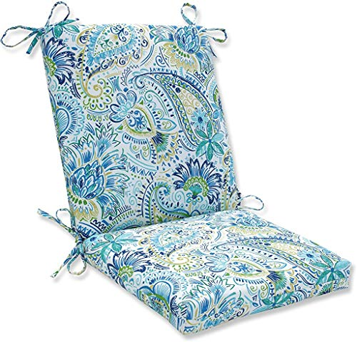 Pillow Perfect Outdoor/Indoor Gilford Baltic Square Corner Chair Cushion, 36.5' x 18', Blue