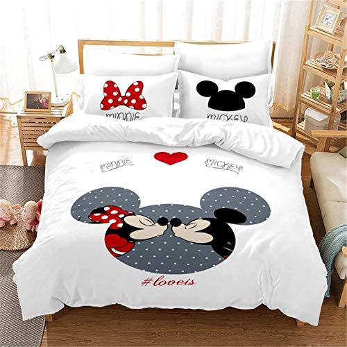 Goplnma- Mickey & Minni Bettwäsche-Disney Mickey Mouse Bettbezug,Minnie Maus-Kinder Bettwaesche-Mit Kissenbezug-3D Digitaldruck Mikrofaser -Mehrfarbig (200×200cm,19)
