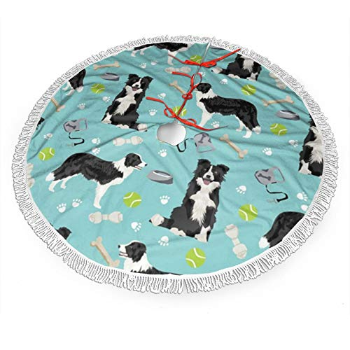 ~ Border Collie Toys Tennis Balls Light Blue Christmas Tree Skirts, Xmas Tree Skirt Mat for Christmas Thanksgiving Holiday Home Party Decorations Ornaments (36 Inches)