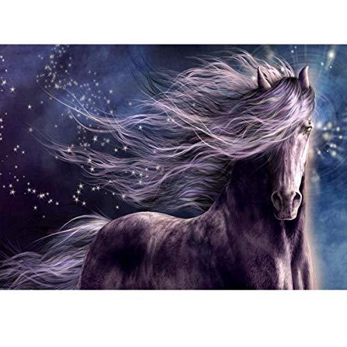 diamond painting horse MXJSUA 5D Diamond Painting Kit Trapano Rotondo incollato Artigianato Decorazione della Parete di casa Cavallo Viola 30x40cm