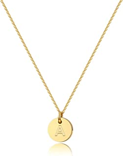 Letter Initial Necklaces for Women - 14K Gold Filled Disc Letter Pendant Initial Necklace, Delicate Tiny Initial Necklace for Girls Teens Baby, Best Initial Necklace Gifts for Women