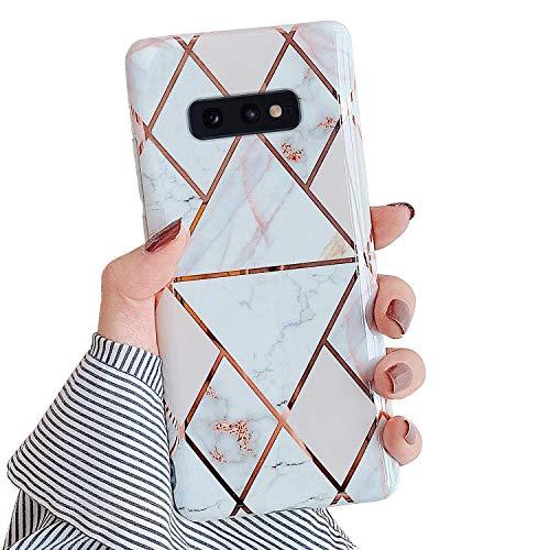 QPOLLY Handyhülle kompatibel mit Samsung Galaxy S10e Hülle Marmor Rosa Glitzer Bling Shiny mit 360 Ring Ständer Ultra Dünn Weich Silikon Schutzhülle Stoßfest Bumper Hülle Tasche Case,Marble#3