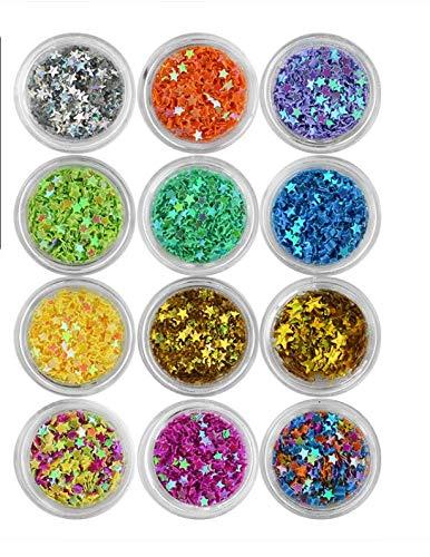 Nagel-Pailletten, Glitzer-Schmuck, rund, quadratisch, sechseckig, runde Pailletten in 12 Farben