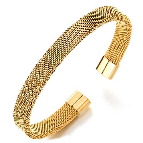 COOLSTEELANDBEYOND Elastische Verstellbare-Edelstahl Gold Gitter Stahlkabel Armband Herren Damen, Armreif