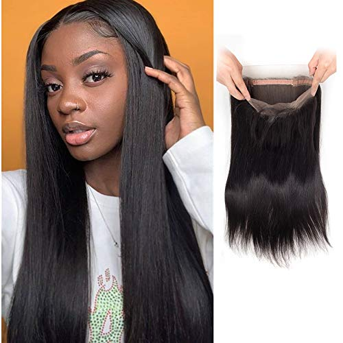 Brazilian Virgin Human Hair Straight 360 Lace Frontal 14 inch with Baby Hair pre Plucked