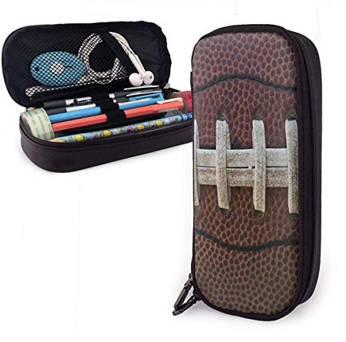 American Football Themed Fun Leather Pencil Case Pouch Zippered Pen Box School Supply for Students,Big Capacity Stationery Box Travel Makeup Pouch Bag for Girls Boys and Adults