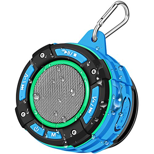 BassPal IPX7 Waterproof Bluetooth Shower Speaker, Portable Bluetooth Speaker with Loud HD Sound, LED Light Show, FM Radio, Suction Cup, Sturdy Hook, Wireless Speaker for Sports Home Pool Beach Hiking