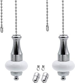 Paquete de 2 Cadena de tracción de luz Luz de baño/luz de techo Interruptor del ventilador Cable de tracción Manija de peso - Metal cromado con cadena de acero inoxidable de cerámica blanca 1 metro