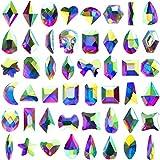 384 Pieces Nail Diamonds AB Crystal Rhinestones Flat Back Glass Rhinestones Nail Stones and Gems Kit
