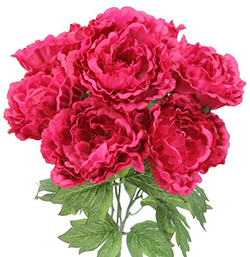Admired By Nature 7 Stems Faux Full Blooming Peony Flower Bush, Fuchsia