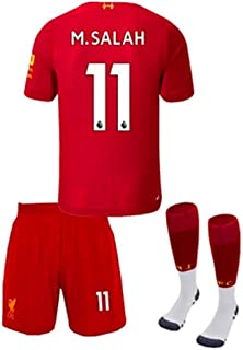 New Soccer Liverpool Home 2019/2020 11 M.Salah Soccer Jerseys Kids/Youth Soccer Shorts and Socks Red