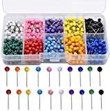 HQDeal 1000 Pieces 1/8 inch Map Push Pins, Map Pins with Coloured Heads, Map Tacks Push Pins with Plastic Round Head and Steel Needle Points