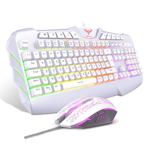 havit Tastiera e Mouse da Gioco Filo Gaming Tastiera e Mouse Impostati con Luce LED, 4 Livelli DPI, 8 Tasti Multimediali e 19 Tasti Anti-ghosting 7 Di