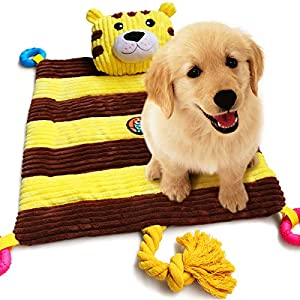 AWOOF Puppy Bed with Puppy Teething Toys, Pet Bed with Chew Squeak Rope Toys, All-in-One Durable Dog Bed Mat for New Puppies