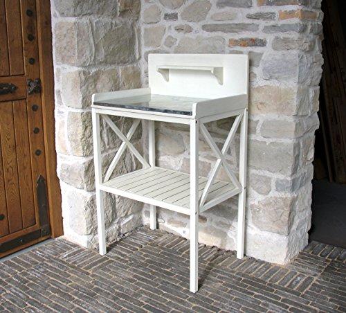 GRASEKAMP Qualität seit 1972 Basteltisch Bernd 70 x 50 x 117 cm Akazie Weiß Gartentisch Pflanztisch