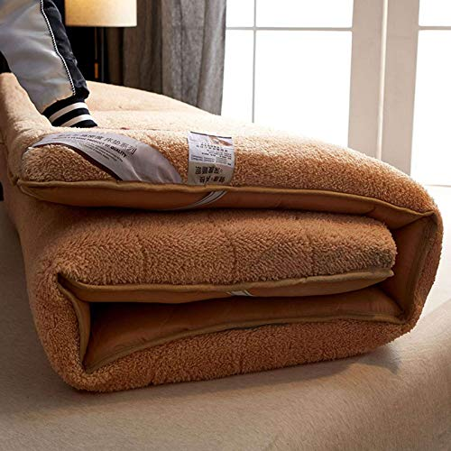 GOPG Mattress Tatami, Folding Winter Summer Lazy Fluffy Anti-Slip Thick Floor Mat for Bedroom Living Room Sleep-Camel-150x200cm(59x79Inch)