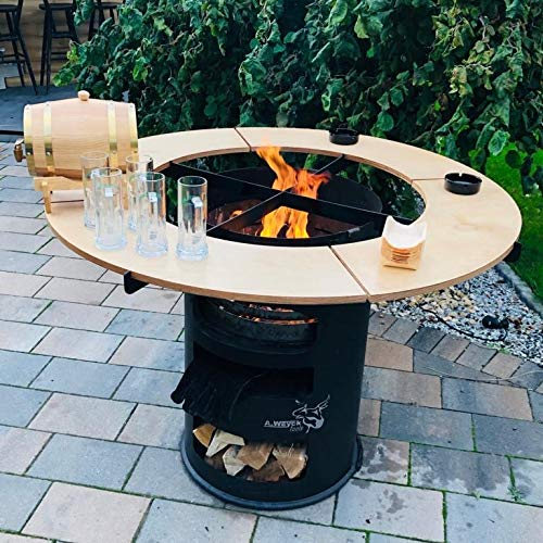 A. Weyck Tools Rundtisch Umrandung für 80cm Feuerplatte Grillplatte Grillring Plancha Feuertonne Grill #27
