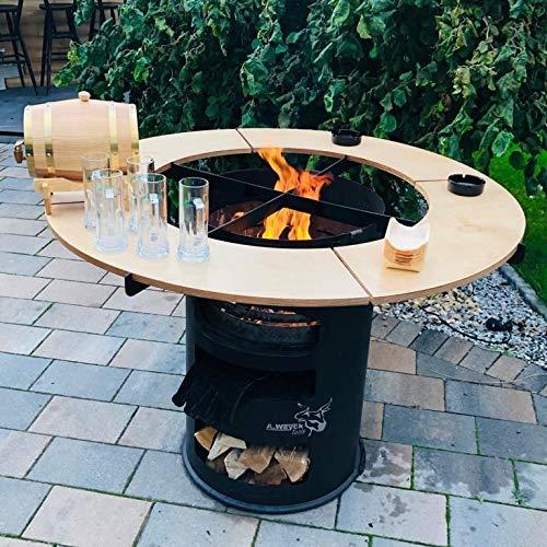 A. Weyck Tools Rund Tisch für 80cm Feuerplatte Grillplatte Grillring Plancha Feuertonne Grill 27