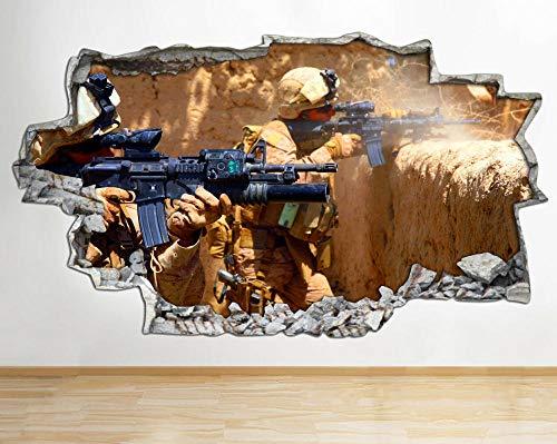 Adhesivo decorativo para pared, diseño de soldados de la guerra de las armas de batalla aplastado
