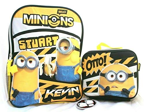 Minions Despicable Me Boys Girls 16' School Backpack Lunch bag Box Kid