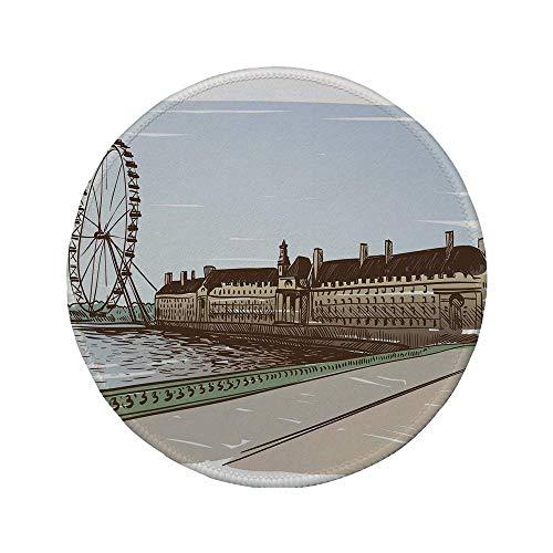 Rutschfreies Gummi-rundes Mauspad London Buckingham Palace Historisches Gebäude Thames River Riesenrad Bleistiftzeichnung Kunst dekorativ mehrfarbig 7.9