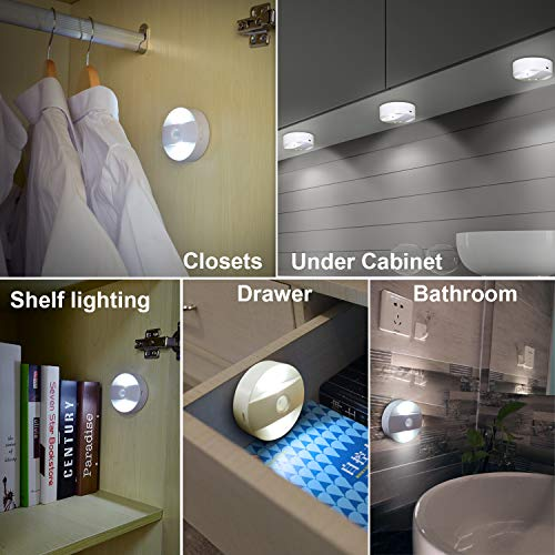 Anbock Wireless LED Night Lights Remote Control Steps Lighting Stairs Lights USB Rechargeable Wall Puck Light with Timing Dimming, Stick on Anywhere Closet Hallway Bedroom Kitchen Pathway White 6000K