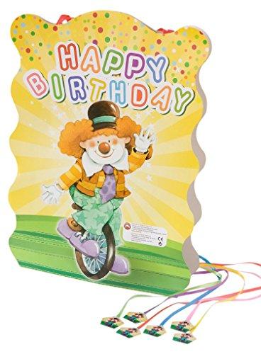 Mopec Piñata con un Dibujo de un Payaso en Monociclo y con el Fondo Amarillo, Pack de 1 Unidad, Cartón, 0.03x29.00x40.00 cm