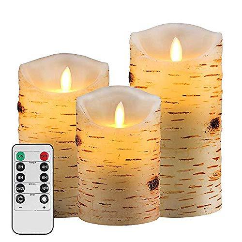 LLOO Vlamloze Kaarsen Flickering Vlamloze Kaarsen Set Van 3 Kaarsen Klassieke Echte Wax Pijlers Met Bewegende LED Vlam En 10-Key Afstandsbediening 24 Uur Timer (3 Stks) Berk Schors
