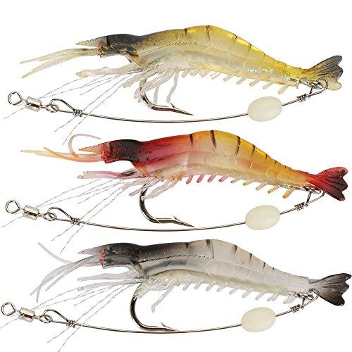 Goture zacht plastic lokken kunstaas licht garnalen vissen lokken gemengde kleur spinner kruk-aas vissen lokken met haak vissen Tackle 3.35
