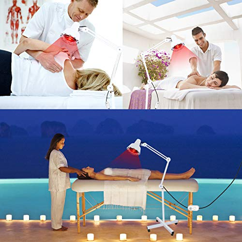 Infrared Lamp, Red Light, A Bulb Included, for Massage Skin Care Muscle Body Therapy Pain Relief, 275W, Floor Stand, Universal Wheels, Adjustable Heat with Stand and Flexible Arm
