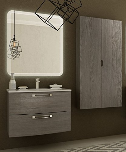 Modern badkamermeubel Comfort Larice grootte 75 cm met spiegel en ophangsysteem, wastafel en zuil