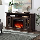 BELLEZE Traditional Rustic Electric Fireplace TV Stand & Media Entertainment Center Console Table for TVs up to 65 Inches with Open Storage Shelves & Cabinets – Astorga (Espresso)