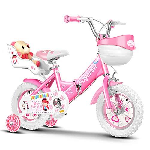 CHUNLAN Princesa Bicicleta para niños Plegable Rueda De Entrenamiento, Asiento De Muñeca Y Canasta De Bicicletas. Chica Da Un Regalo - Bicicleta Infantil 12 14 16 18 Pulgadas(Size:18 INCHES ,Color:A)