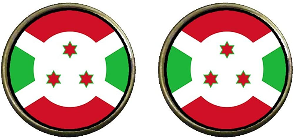 GiftJewelryShop Bronze Retro Style Burundi flag Photo Clip On Earrings 14mm Diameter