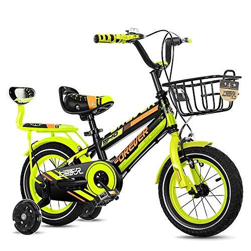 HUAQINEI Bicicleta para niños con Ruedas Desmontables, 2-13 años Bicicletas de Carretera para niños y niñas de 12/14/16/18 Pulgadas