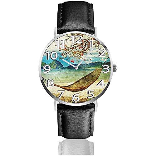 Armbanduhr-Tropische Szenen-Grafik-Malerei-Art-Klassische zufällige Quarzuhr-Geschäfts-Uhren