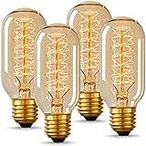 エジソン電球 60W 110V T45電球調光可能 E26/ E27口金 e26エジソン ヴィンテージエジソンランプ タングステンフィラメント電球クリア アンティーク風 調光器対応 ホーム照明 装飾用器具 (4個)