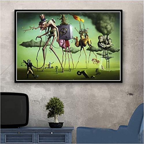 tgbhujk Salvador Dali Surrealismus Abstrakte Malerei Poster Wandkunst Bild Poster und Drucke Leinwand Gemälde für Room Home Decor 42x60 cm Ohne Rahmen