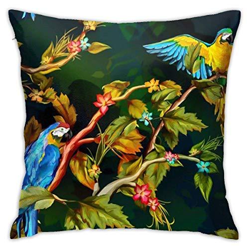 Fundas para cojines Póster Loro acuarela dibujada a mano en rama tropical Funda de cojín con impresión clásica de algodón suave y poliéster