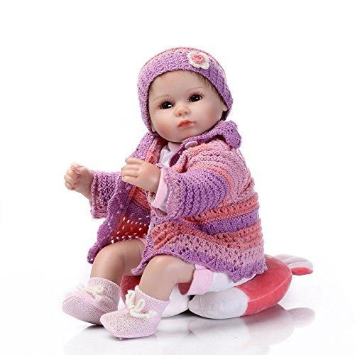 Nicery Reborn Baby Doll Puppe Weich Simulation Silikon Vinyl 18 Zoll 45 cm magnetisch Mund lebensecht lebhaft für 3 Jahre alt 3+ Boy Girl Mädchen Spielzeug Rotes Kissen Augen offen
