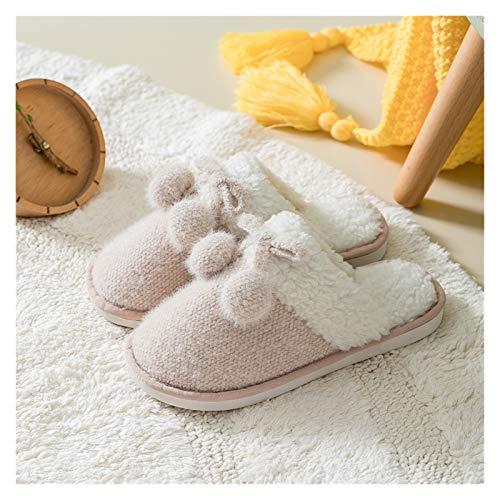 Zapatos caseros zapatillas de interior Invierno Cálidas for mujer Zapatillas de piel Lindo arco Hairball Dormitorio Cálido Dormitorio Damas de felpa Zapatos No resbalones Parejas Parejas Zapatillas de