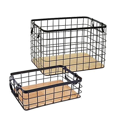 Cesta de almacenamiento de hierro con base de madera maciza y mango binaural, caja multiusos para almacenamiento en el hogar, para ropa, libro, etc. (grande + pequeño)