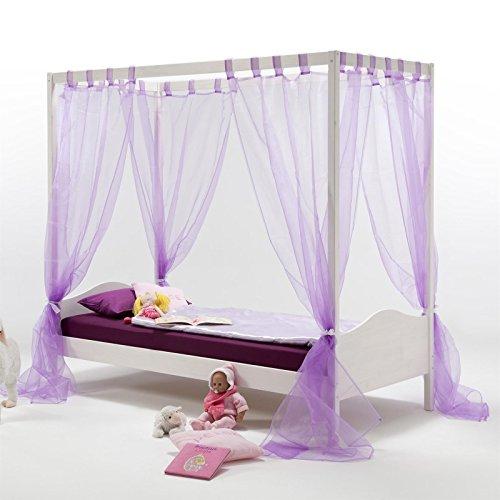 IDIMEX Himmelbett Kinderbett Mädchenbett Nadine, 90x200 cm Kiefer massiv weiß lackiert