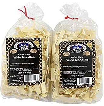 Amish Wedding Foods Wide Noodles 16 Ounce Bags No Preservatives  Pack of 2
