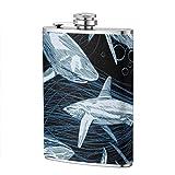 Frascos para beber XBYC para alcohol, Patrón de vector de tiburón con pez de mar submarino dibujado a mano, Frasco de cadera de acero inoxidable contemporáneo de 8 oz para licor para hombres