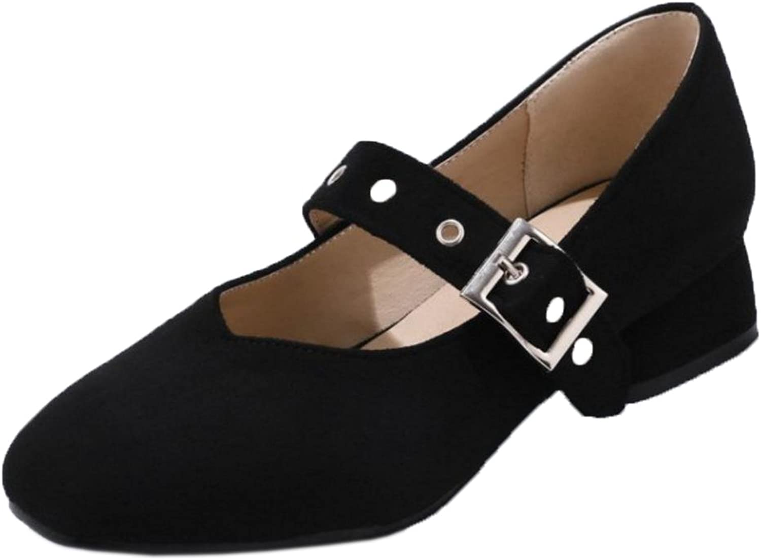TAOFFEN Women's Buckle Strap Court shoes