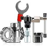SuetNuy Fahrrad Kassette Removal Tool, Fahrrad Reparaturset mit Kurbelabzieher und Innenlager-Entferner Kettenpeitsche, kurbelabzieher, Tretlager Werkzeug, Ketten Werkzeug (6pcs)