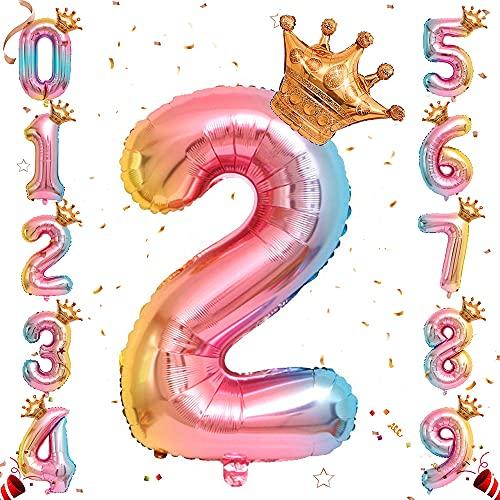 Ousuga - Palloncino con numero di elio, 72 cm, con corona, in Mylar da 0 a 9 palloncini per principessa, compleanno, anniversario, decorazione (n. 2)
